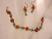Sady šperkov - Náramok s náušnicami - syntetický tyrkys - 10024799_