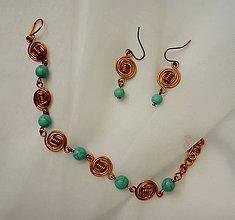 Sady šperkov - Náramok s náušnicami - syntetický tyrkys - 10024796_