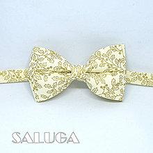 Doplnky - Pánsky VIANOČNÝ motýlik - zlatý vzor - maslový - 10023004_