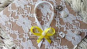 Darčeky pre svadobčanov - Stužky na fľaše - žltá - 10022322_