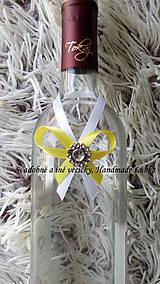 Darčeky pre svadobčanov - Stužky na fľaše - žltá - 10022324_