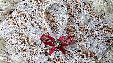 Darčeky pre svadobčanov - Stužky na fľaše - bordová - 10022354_