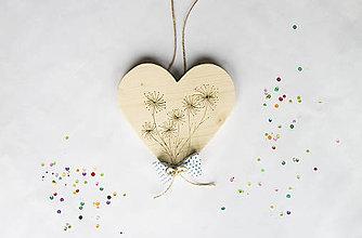 Dekorácie - Srdce na dvere - Bodkované púpavy - 10022115_