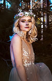 Ozdoby do vlasov - Kvetinový venček s parožkami Halloween - 10020652_