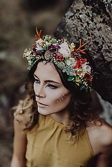 Ozdoby do vlasov - Kvetinový venček s parožkami Halloween - 10024662_