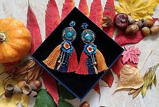 Náušnice - Trojstrapcove jesenné nausnicky - 10022132_