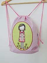 Detské tašky - Ružový batôžtek - dievčatko so zajačikom - 10023273_