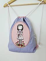 Detské tašky - Fialový batôžtek - dievčatko s kvietkami - 10023303_