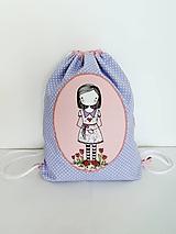Detské tašky - Fialový batôžtek - dievčatko s kvietkami - 10023321_