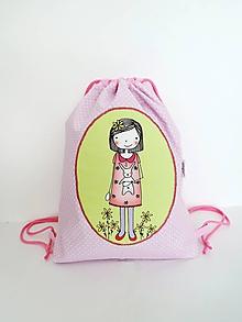 Detské tašky - Ružový batôžtek - dievčatko so zajačikom - 10023330_