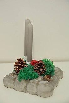 Svietidlá a sviečky - vianočná dekorácia na stôl - 10020731_