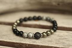 Pánsky náramok z minerálov pyrit, jaspis, láva, onyx