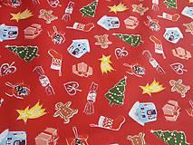 Textil - látka vianoce na červenom - 10021253_