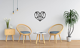 Dekorácie - Kovová geometrická nástenka / dekorácia HEART - 10025378_