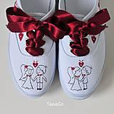 Obuv - Folk svadobné tenisky vo vínovej - 10025104_