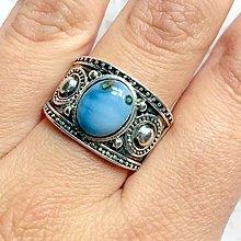 Prstene - Blue Opal Antique Silver Ring / Starostrieborný prsteň s modrým opálom /1068 - 10026081_