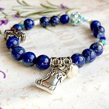 Náramky - CHRISTMAS EDITION Elastic Lapis Lazuli Bracelet / Elastický náramok lazurit, vianočná edícia /1074 - 10026399_