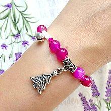 Náramky - CHRISTMAS EDITION Elastic Pink Rainbow Agate Bracelet / Elastický náramok ružový achát, vianočná edícia /1077 - 10026647_