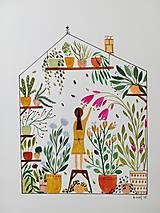 Obrazy - Dievča v skleníku ilustrácia / originál maľba  - 10025136_
