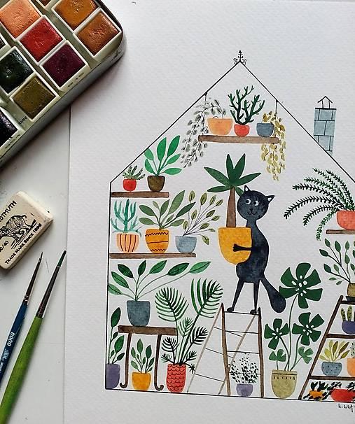 Dievča v kaktusovom  skleníku ilustrácia / originál maľba