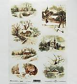 - Ryžové papiere na decoupage A4 - R463 - Vianoce, krajinka - 10025952_