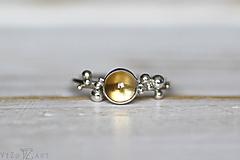 Prstene - Strieborný ligotavý prsteň s citrínom - Bokeh Citri - 10025705_