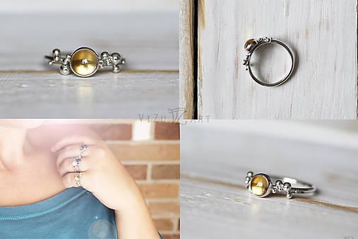 Strieborný ligotavý prsteň s citrínom - Bokeh Citri