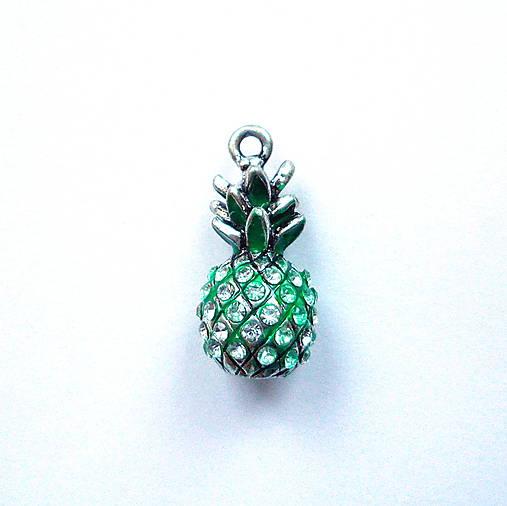 Kov.prívesok 3D-ananás-1ks (crystal/st.strieb/zelená)