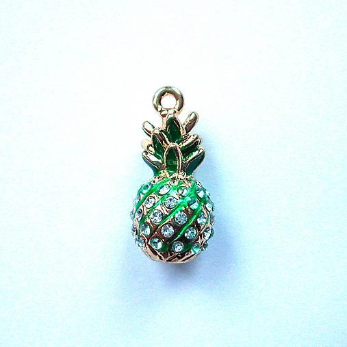 Kov.prívesok 3D-ananás-1ks (crystal/zlatá/zelená)