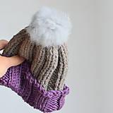 Detské čiapky - detská čiapka 2-farebná s bambuľkou - 10025509_
