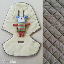 Textil - Podložka / poťah do kočíka STOKKE  Summer and Winter 100% ovčie rúno MERINO ELEGANT Elephant grey Šedo hnedá - 10027651_