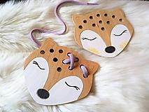 Hračky - Drevená líška mini - prevliekacia hračka (Biela s líčkami) - 10025615_