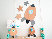Detské doplnky - Veľká drevená RAKETA na stenu - 10026777_