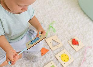 Hračky - Geometrické tvary a farby - na jemnú motoriku - 10025154_