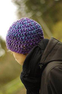 Čiapky - farebnica farebná fialovomodrá:) čiapka akurátka - 10027981_