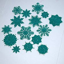 Materiál ručne robený - Snehové vločky, výrezy Tyrkysovo zelená glitrovaná 15 ks - 10026723_