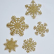 Materiál ručne robený - Snehové vločky, výrezy 3 Zlatá antická glitrovaná 5 ks - 10026761_