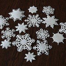 Materiál ručne robený - Snehové vločky, výrezy Biela glitrovaná 15 ks - 10027224_