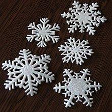 Materiál ručne robený - Snehové vločky, výrezy 2 Biela glitrovaná 5 ks - 10027233_