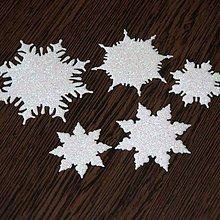 Materiál ručne robený - Snehové vločky, výrezy 1 Biela glitrovaná 5 ks - 10027239_
