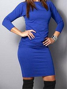 Šaty - Modré šaty s 3/4 rukávom - 10027341_