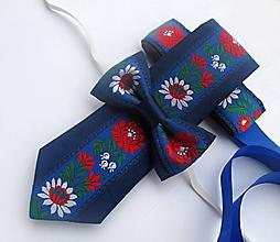 Doplnky - Rodinný set FOLK: kravata+detský motýlik+opasok - 10027030_