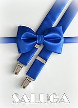 Detské doplnky - Detský motýlik + traky kráľovsky modrý - 10025457_