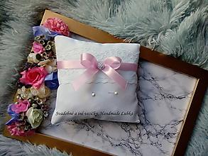 Prstene - Vankúšik na obrúčky  - svetlá ružová - 10026784_