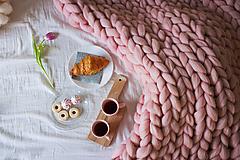 Úžitkový textil - BIELA KÁVA - Obria pletená deka Merino 90x120 - 10025513_