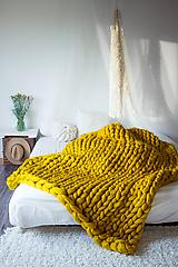 Úžitkový textil - HORČICOVÁ Obria pletená deka Merino -150X200 - 10025693_