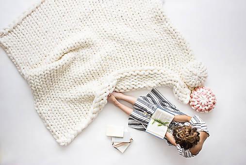 Úžitkový textil - Obria pletená deka Merino - 200x200 - 10025881_