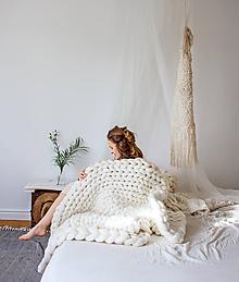 Úžitkový textil - Obria pletená deka Merino 100x150 - 10025548_
