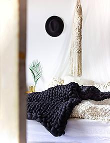 Úžitkový textil - Obria pletená deka Merino - 130x190 - 10025839_
