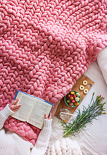 Úžitkový textil - Obria pletená deka Merino - 160x200 - 10026678_